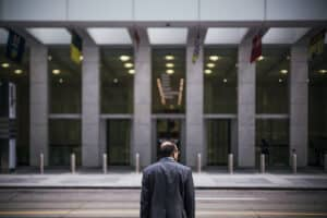 Man standing outside of office